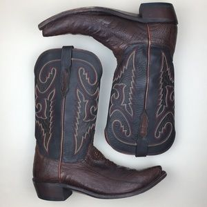 Lucchese Boots Sienna Burn Ostrich Leg Clipped Toe